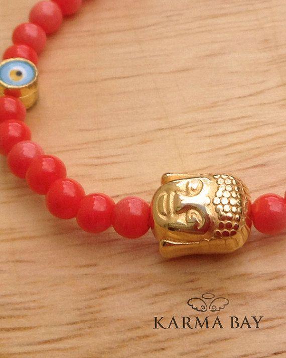 #Coral Coloured #Buddha Stretch #Bracelet by #KarmaBay