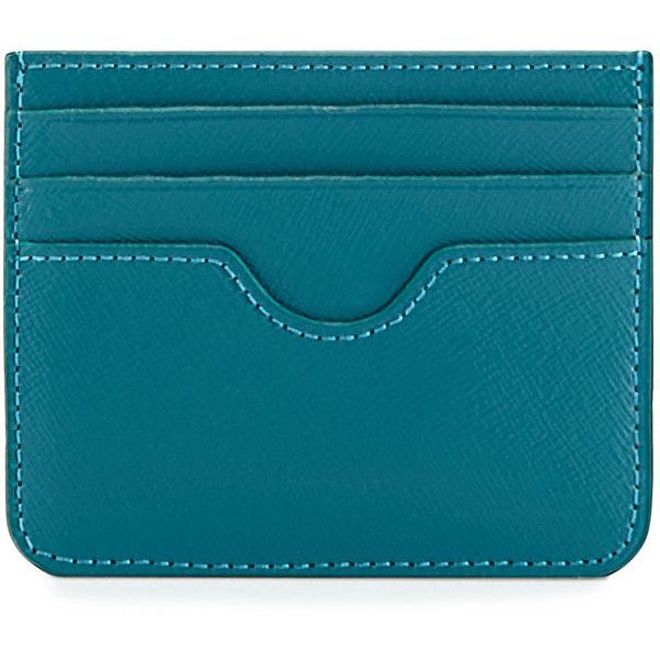 Neiman Marcus Flat Leather Card Case ($14) ❤ liked on Polyvore featuring bags, wallets, peacock, leather wallets, neiman marcus wallets, genuine leather credit card holder wallet, blue leather bag and credit card holder wallet