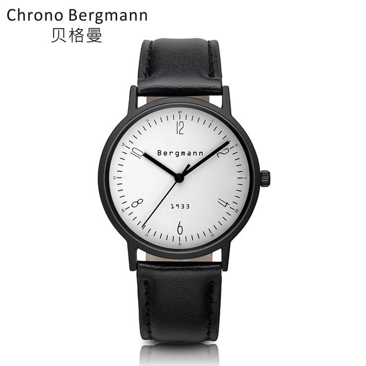 Famous Brand Bergmann Clean Vintage Men Women Dress Watches Casual Couple White Dial Quartz Wristwatches Leather Reloj De Marca