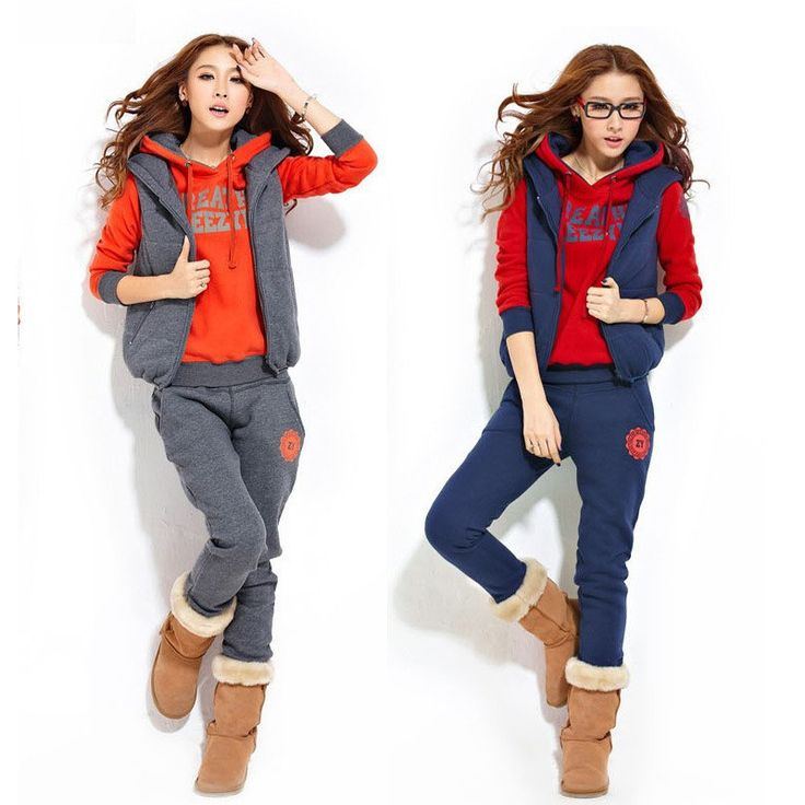 3 Set Women Leisure Sports Winter Hoodie Sweatshirt Suit Sportswear Female Sport Tracksuit Cotton