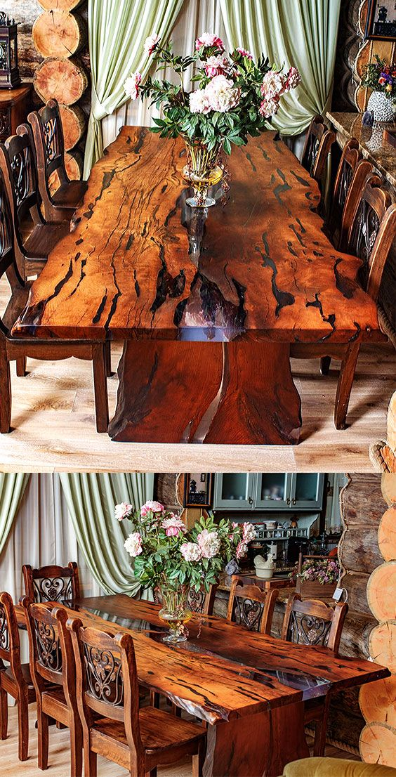 """A beautiful dining table for 6 person is made of slabs of wood with a very beautiful texture and a natural, """"live"""" edge. The wood for the table was heat treated. Wood is covered with natural oil-wax. The River style table is filled with epoxy resin Legs of the table are also made of the wood. #woodtable #woodepoxytable #diningtable"""