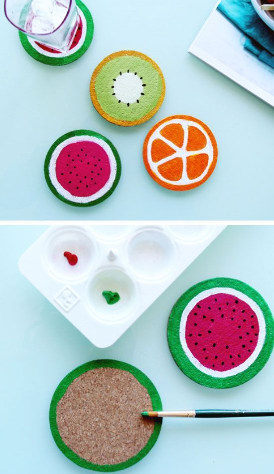 DIY Fruit Coasters | Click Pic for 19 DIY Summer Crafts for Kids to Make | Easy Summer Activities for Kids Outside