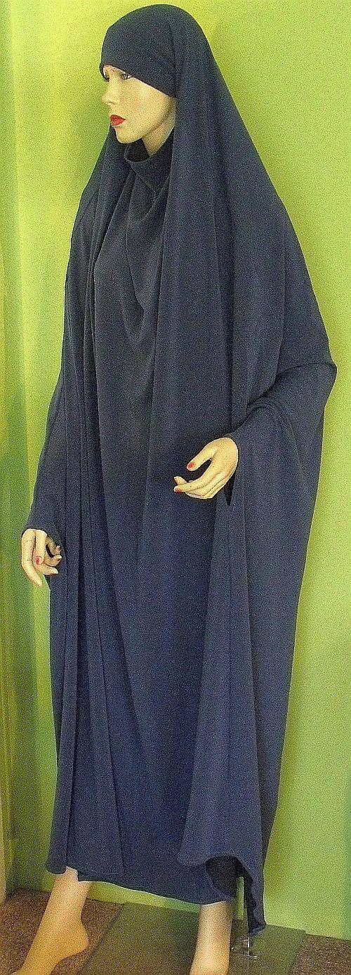 Floor Length Khimar Overhead Abaya Prayer Garment Chador Blue.