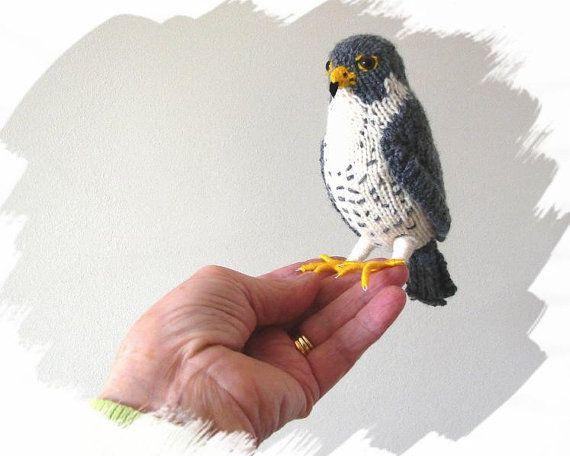 Peregrine Falcon Hand Knitted Miniature Raptor Plush