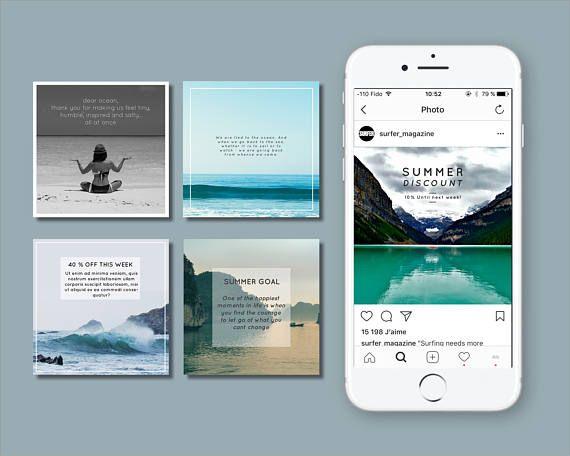 TEMPLATES: Instagram Templates Ocean summer template Social