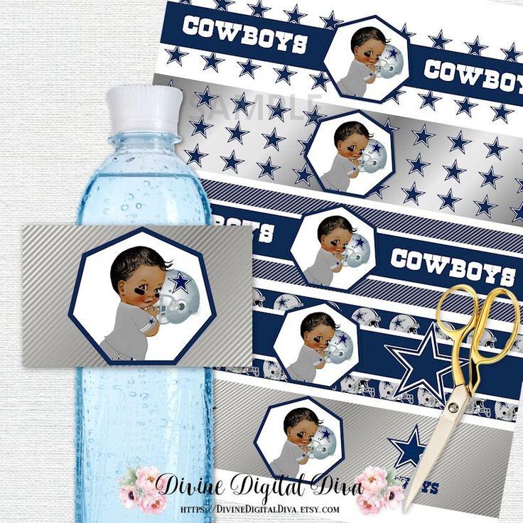 Dallas Cowboys Football Water Bottle Labels   African American Skin Tone   Blue Gray White Silver   Digital Instant Download by DivineDigitalDiva on Etsy https://www.etsy.com/listing/474356483/dallas-cowboys-football-water-bottle
