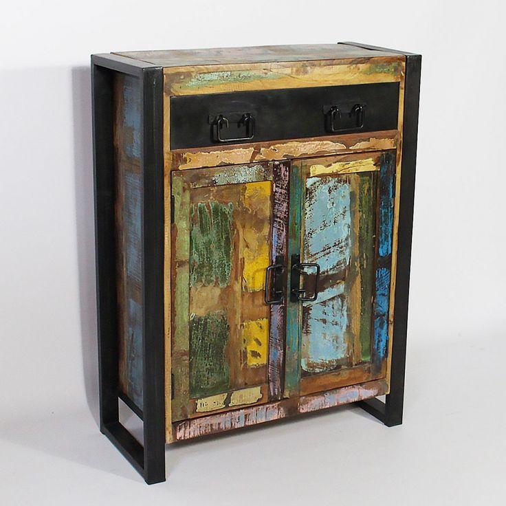 Buffet industriel 2 portes bois color 1 tiroir m tal recycl color meuble chaussure - Meuble colore ...