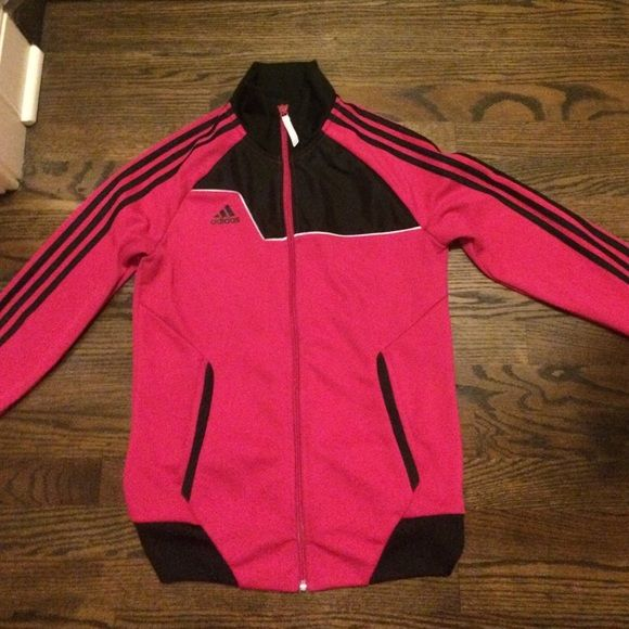 Adidas Women's Pink Zip-Up Jacket Great Condition Adidas Women's Pink & Black Zip-Up Jacket. Great For Running, Yoga, or just general use. I would be willing to trade Adidas Jackets & Coats
