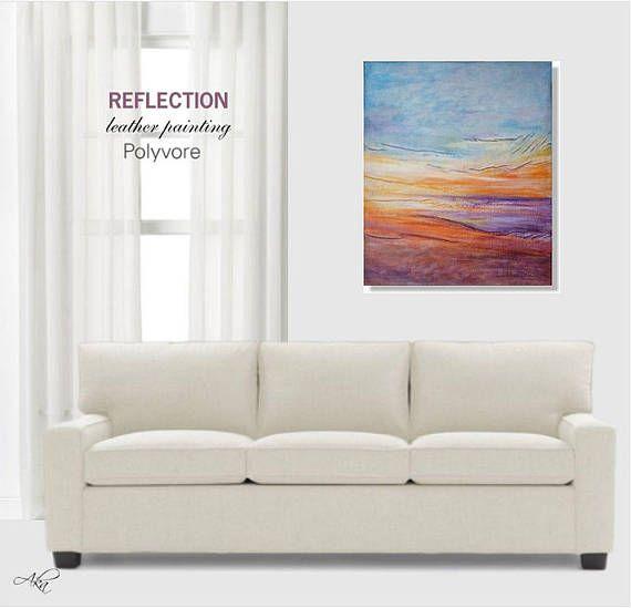 #purple #orange #painting #sunset #ocean #seascape #original #abstract #leather #art #homedecor #wallaart #sunrise #sunshine #leatherart #artdecor