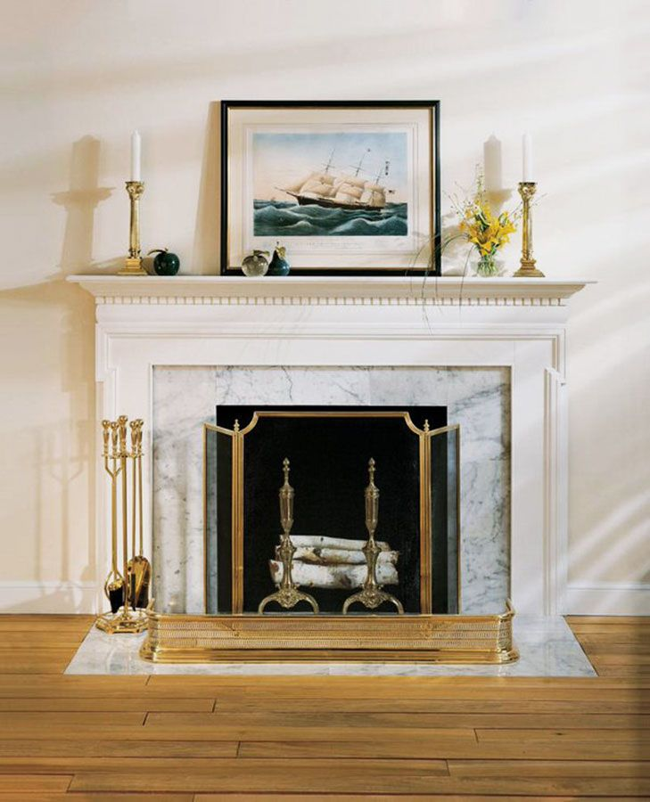 White Fireplace Mantel With Accessories Solid Cast Brass Tools Screen And