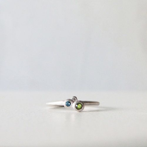 Anillo ICE, plata rodiada, topacio, turmalina y diamante