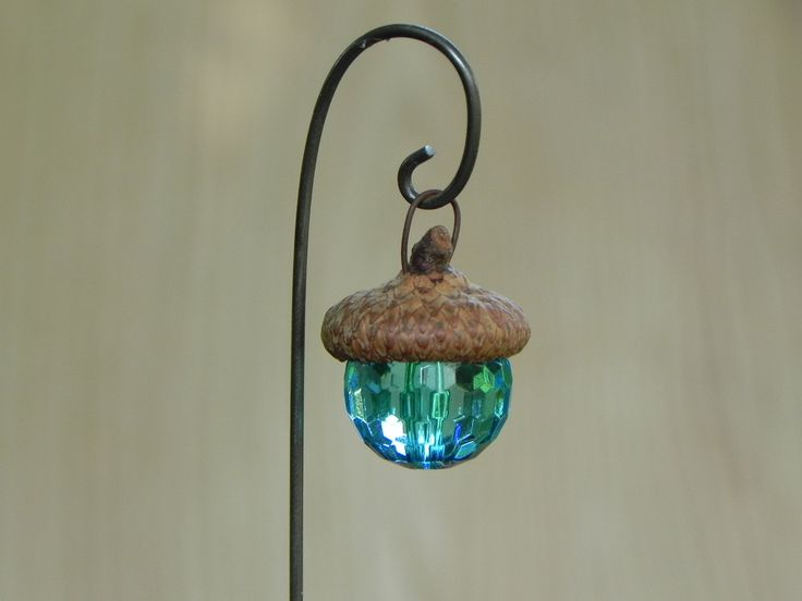 Fairy Garden Acorn Cap Lantern - robin's egg blue accessories miniature by TheLittleHedgerow on Etsy