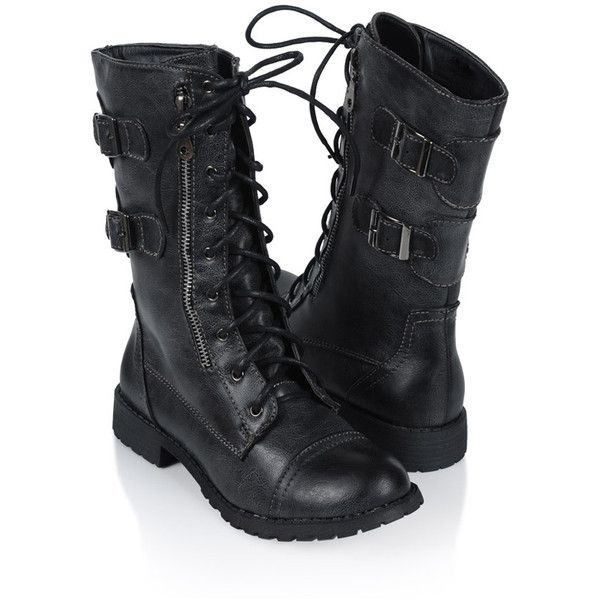 Lace Up Combat Boots ($36) ❤ liked on Polyvore featuring shoes, boots, ankle booties, sapatos, women, combat boots, combat booties, chukka boots, distressed boots and round toe cowgirl boots