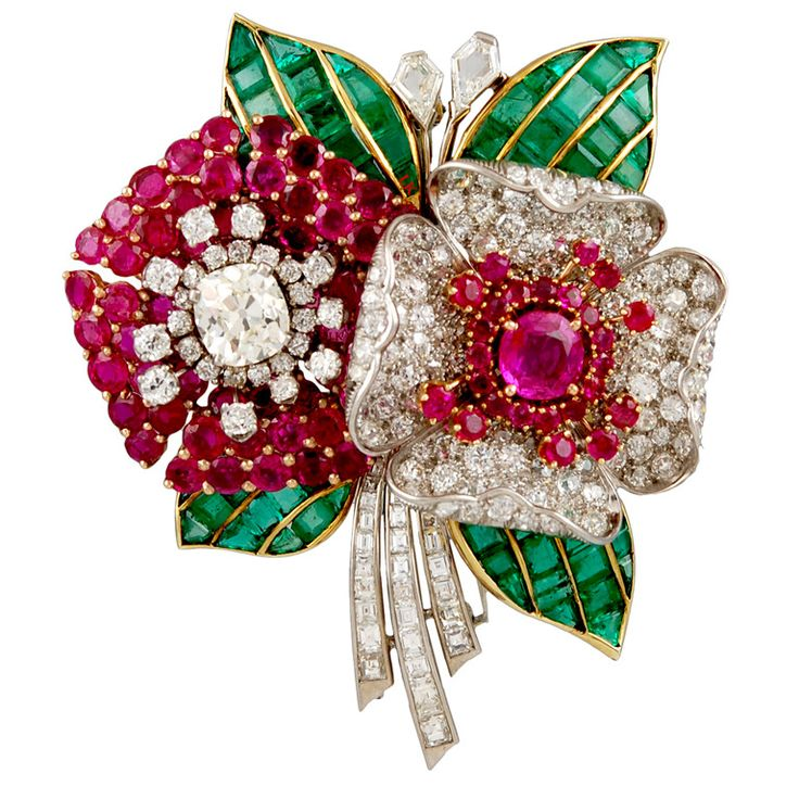 1stdibs.com | Marcus& Co. 1930s Diamond Ruby  Emerald Gold Platinum Flower Brooch