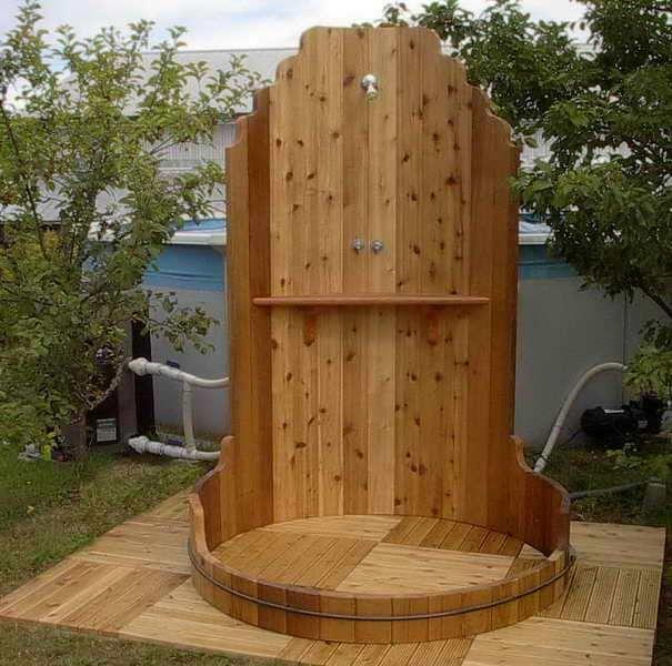 Outdoor Shower Alternative Choice: Outdoor Shower Enclosures With Wood  Shelves ~ Glevio.com Bathroom