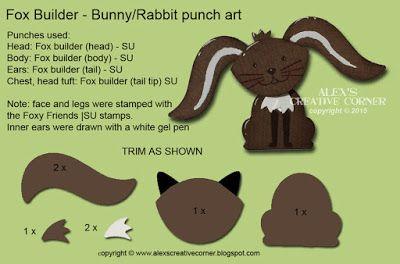 Alex's Creative Corner: Fox Builder Rabbit and Toadstool Punch Art Card