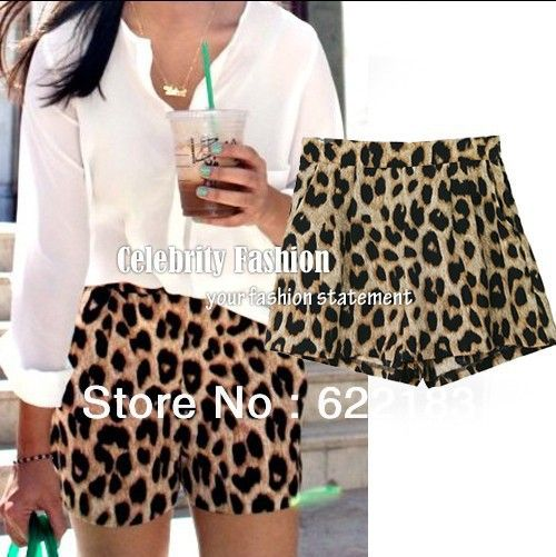Celebrity Style Leopard Animal Print Loose Fit Casual Shorts Hotpants Women Pants S M L 12027 US $8.98
