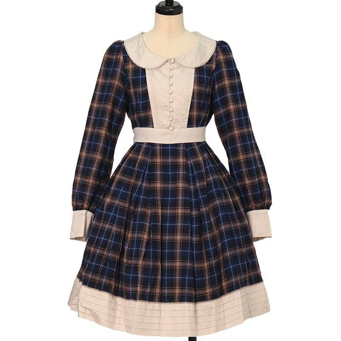 Tartan check tuck dress  Victorian Maiden  https://www.wunderwelt.jp/en/products/w-26637    Worldwide shipping available ♪   How to order ↓  https://www.wunderwelt.jp/en/shopping_guide  * Japanese online shop for second-hand Lolita Fashion *Wunderwelt *