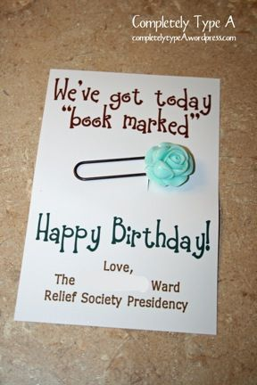 Relief Society Birthday Visit Gifts « Completely Type A
