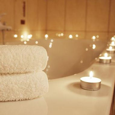 Candles Lit When Having A Bath Relaxing Also A Romantic