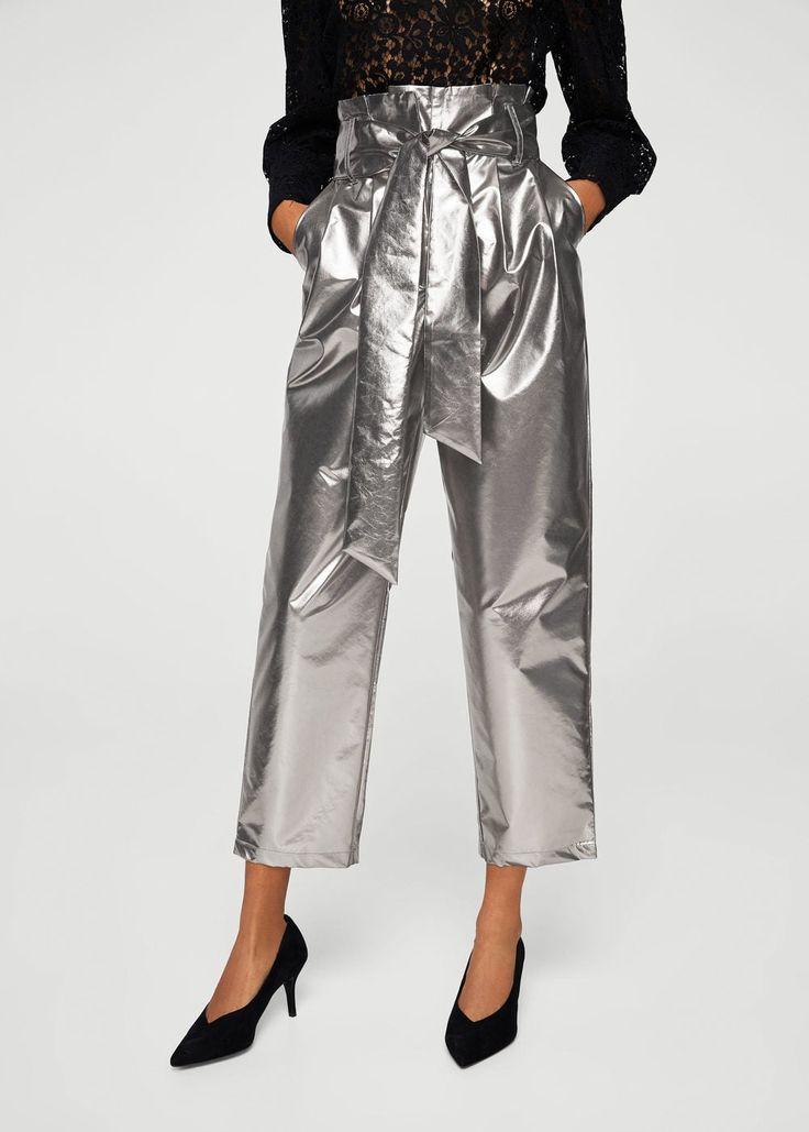 Metallic trousers | MANGO