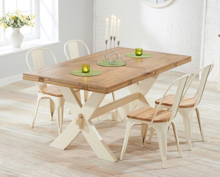 Buy the Bordeaux Oak and Cream All Sides Extending Dining Table with Xavier Tolix Industrial Style Ash and Cream Dining Chairs at Oak Furniture Superstore
