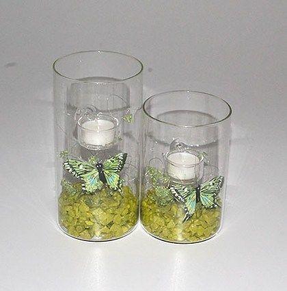 T-light i limegrøn med sommerfugle - mystone.dk