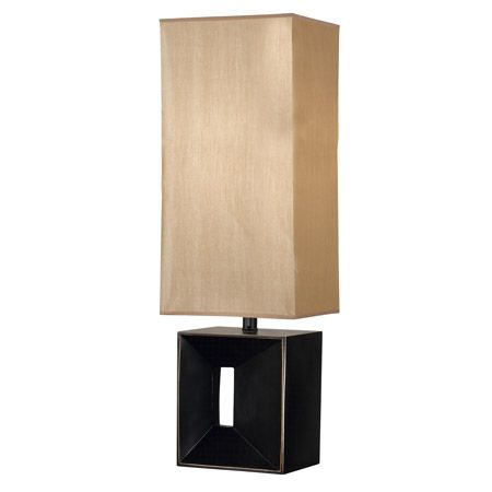 This contemporary lamp's base has an oil rubbed bronze finish and a tall rectangular amber shade.