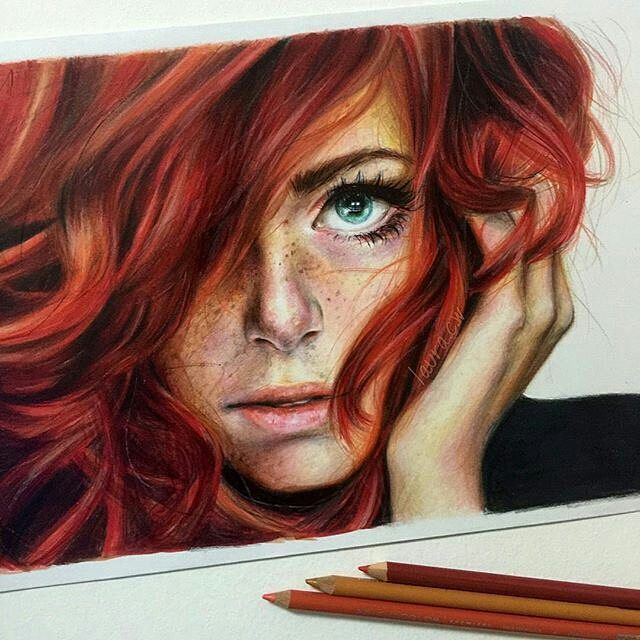 Stunning #coloredpencil #portrait by @laura_arts_ of a gorgeous #redhead. This…