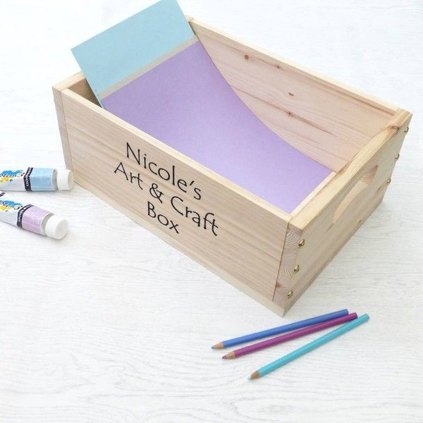 EdgeInspired Personalised Art And Craft Wooden Storage Box (€45) ❤ liked on Polyvore featuring home, home decor, small item storage, arts and crafts home decor, wooden box, craftsman style home decor, wood box and wooden storage box