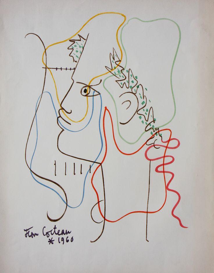 Jean Cocteau: 'Theme Orphique', 1960 (lithograph).