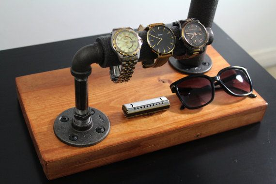 industrial watch holder made of wood and black iron available on etsy
