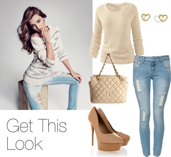 """""""Sweaters and Ragged Jeans"""" by aby-c on Polyvore"""
