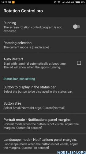 Screen rotation control pro v2.1 patchedRequirements: 4.1 and up Overview: A simple rotation of the screen control program. The settings can be controlled from the screen or set the status bar. Paid version features – Ad removal – Remove...