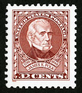 US Stamp 1995 - James K. Polk, 11th US Pres 1845-1849. The Postal Service honored James K. Polk on the 200th anniversary of his birth with the issuance of a 32-cent commemorative stamp on November 2, 1995 in Columbia, Tennessee.