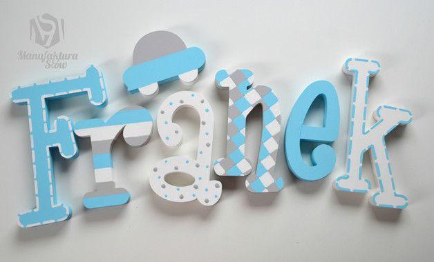 Literki przestrzenne 3d pastelowe błękit biały sza - Manufaktura-Slow - Dekoracje pokoju dziecięcego