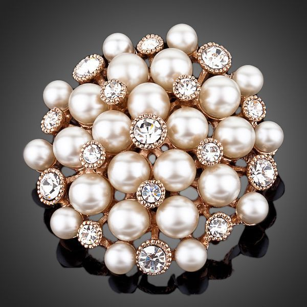 18K Rose Gold Plated Stellux Transparent Austrian Crystal  25pcs Gold Color Beads Flower Brooch