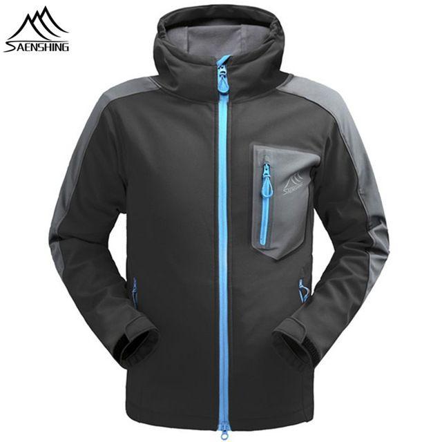 SAENSHING Waterproof softshell Jacket Men Hiking Fleece Rain