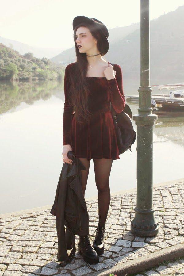 Black Boots, Black Tights, Short Red Velvet Dress, Black Leather Jacket, Black Choker, Black Hat... Gorgeous Grunge