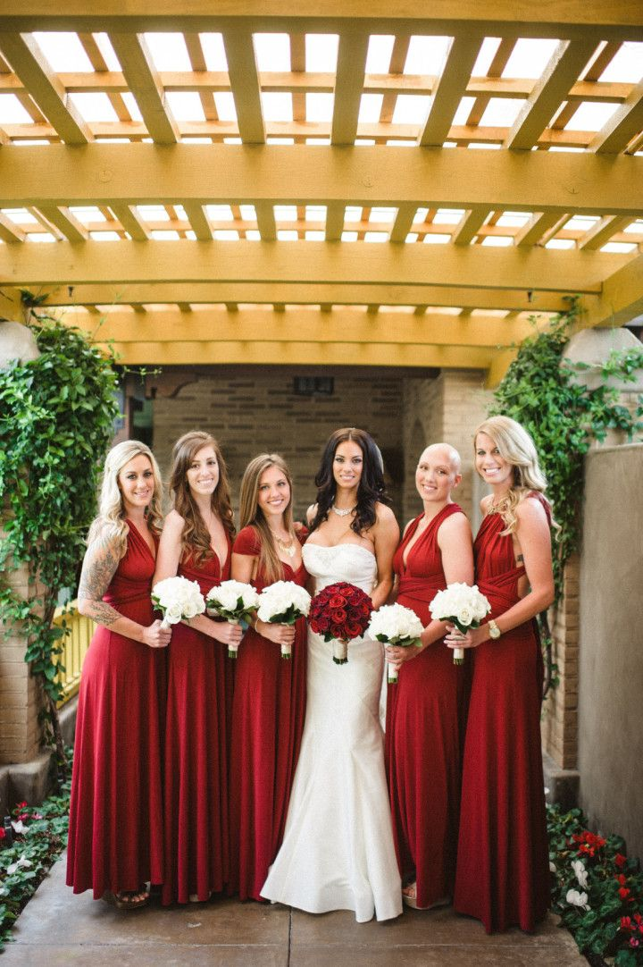 Featured Photographer: Acres of Hope Photography - red bridesmaid dresses