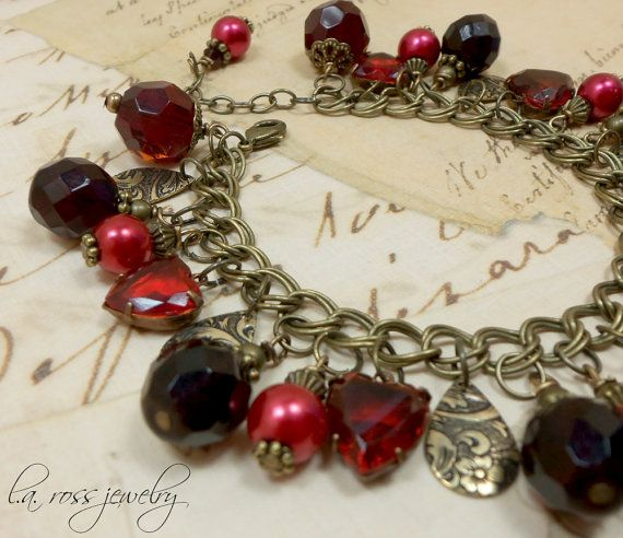 Red Beaded Charm Bracelet: Vintage Heart Jewel Pearl Floral Valentines Day Red Garnet Ruby Victorian Antique Brass