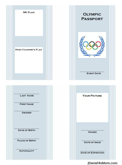 Olympics for Kids: Free Printable Passport with Learning Activities from JDaniel4's Mom