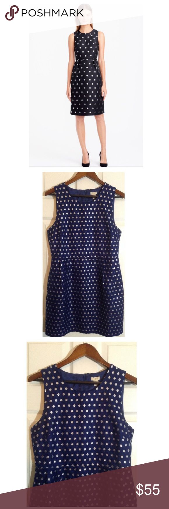 J. Crew Metallic Dot Jacquard Dress J. Crew Metallic Dot Jacquard Dress... Sparkly jacquard in an easy to wear style. Great for the holidays!!! Color is navy blue. J. Crew Dresses