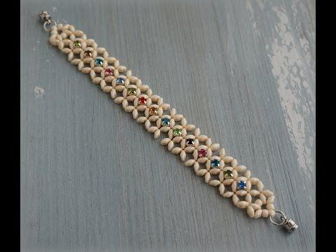 Superduo™ & Montee Beads Diagonal RAW Bracelet Tutorial - YouTube
