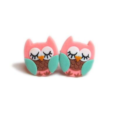Small Stud Handmade Polymer Clay Pink Kawaii Cute Owl Emo Girls Earrings Jewelry