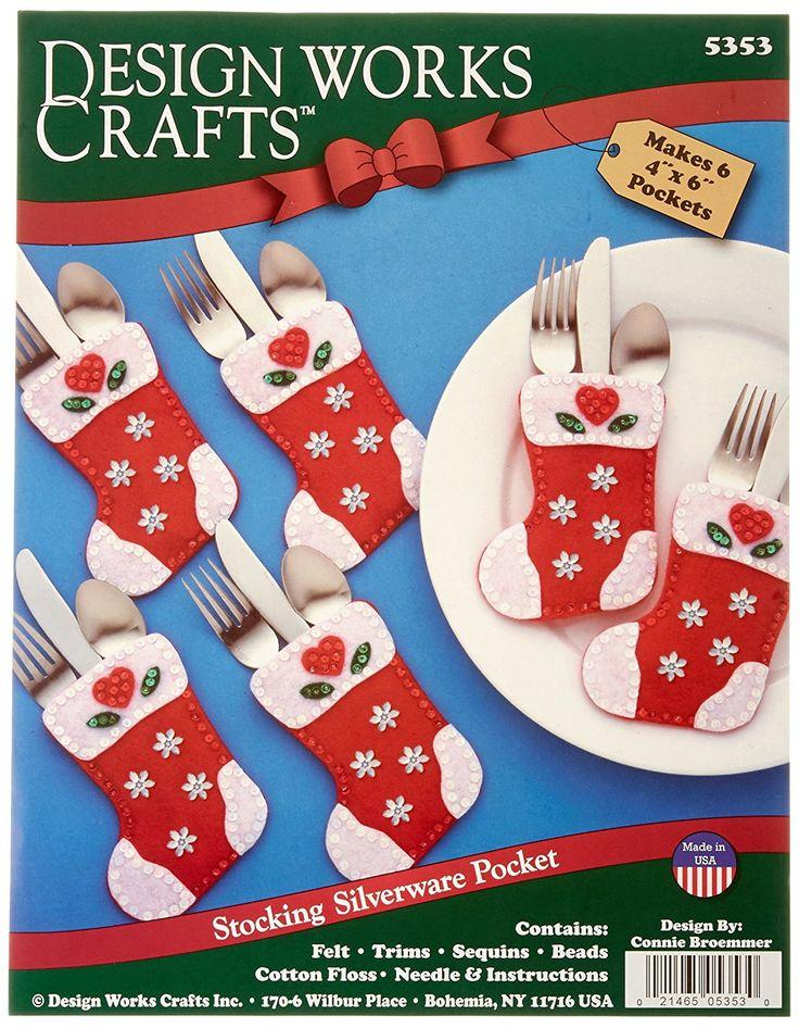Design Works - Portacubiertos (fieltro), diseño de calcetín navideño, multicolor