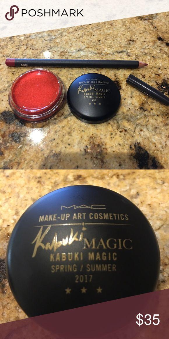 MAC MAKEUP SET LIPPENCIL/ KABUKI MAGIC LIP POT Limited edition lip pot in red and lip pencil in Brick MAC Cosmetics Makeup Lip Liner