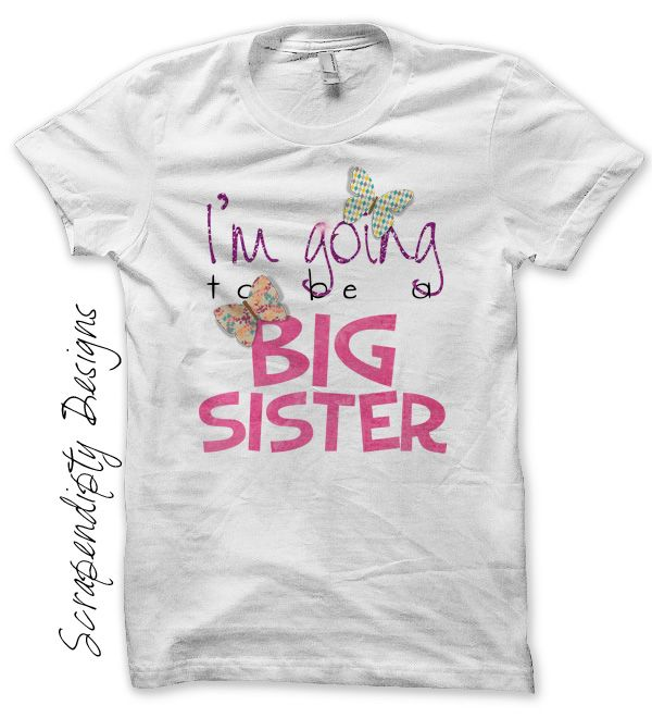 Big sister iron on transfer pattern pregnancy for Big sister birth announcement shirts