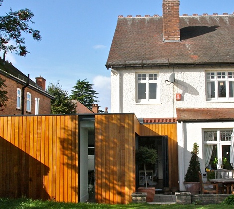 timber clad single storey extension