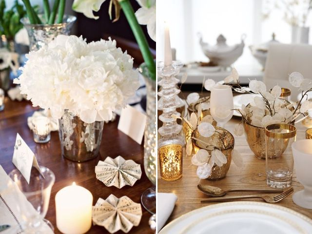 Whites, cream, gold, silvers or greys, some of my favorite decoration combos.